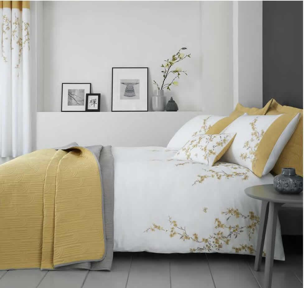 Grey Catherine Lansfield Embroidered Blossom Duvet Cover Set